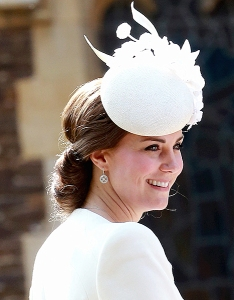 KING'S LYNN, ENGLAND - JULY 05:  Catherine, Duchess of Cambridge arrives at the Church of St Mary Magdalene on the Sandringham Estate for the Christening of Princess Charlotte of Cambridge on July 5, 2015 in King's Lynn, England.  (Photo by Chris Jackson - WPA Pool/Getty Images)