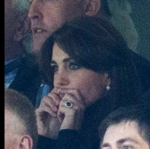 Image licensed to i-Images Picture Agency. 10/10/2015. London, United Kingdom. The Duke and Duchess of Cambridge watching the Australia V Wales game at the Rugby World Cup at Twickenham, United KIngdom. Picture by Stephen Lock / i-Images