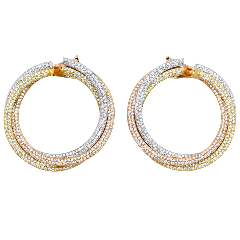 8b811726b4fcd4 Cartier Diamond Tricolor Gold Trinity Hoop Earrings | Kate ...