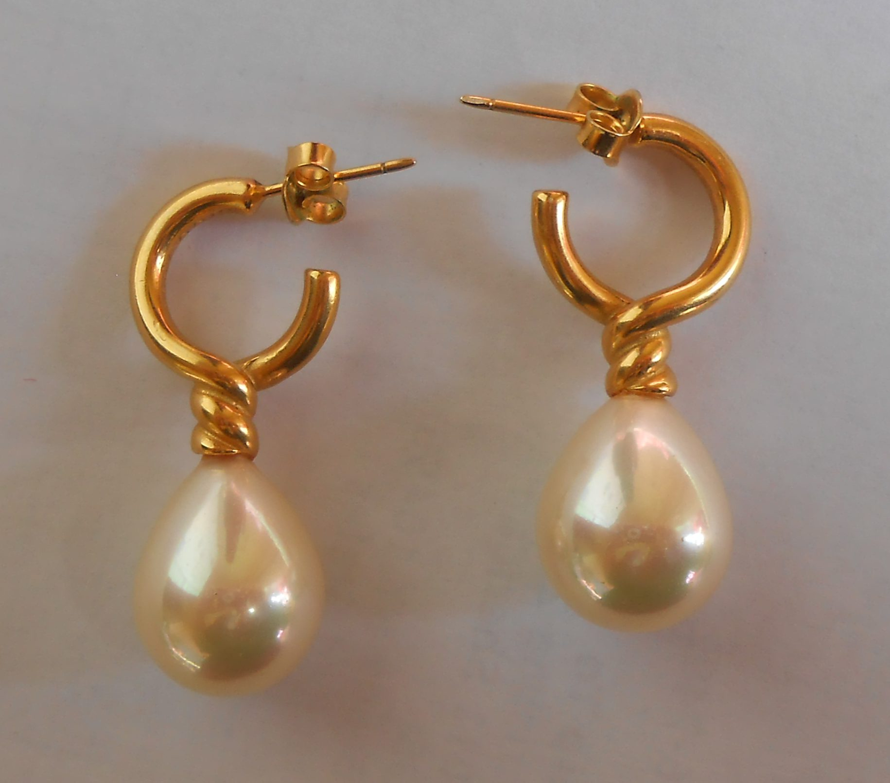The Earrings Are Made With Simulated Glass Pearls And Gold Overlay The  Posts Are Goldfilled